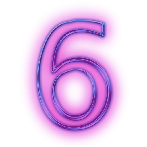 Hot Pink Number Six Clipart.