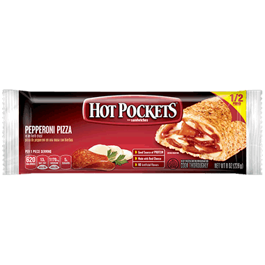 Hot Pockets Pepperoni Pizza Stuffed Sandwich Individual Wrap 12 x 8.