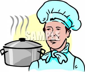 Chef with a Hot Pot of Water.