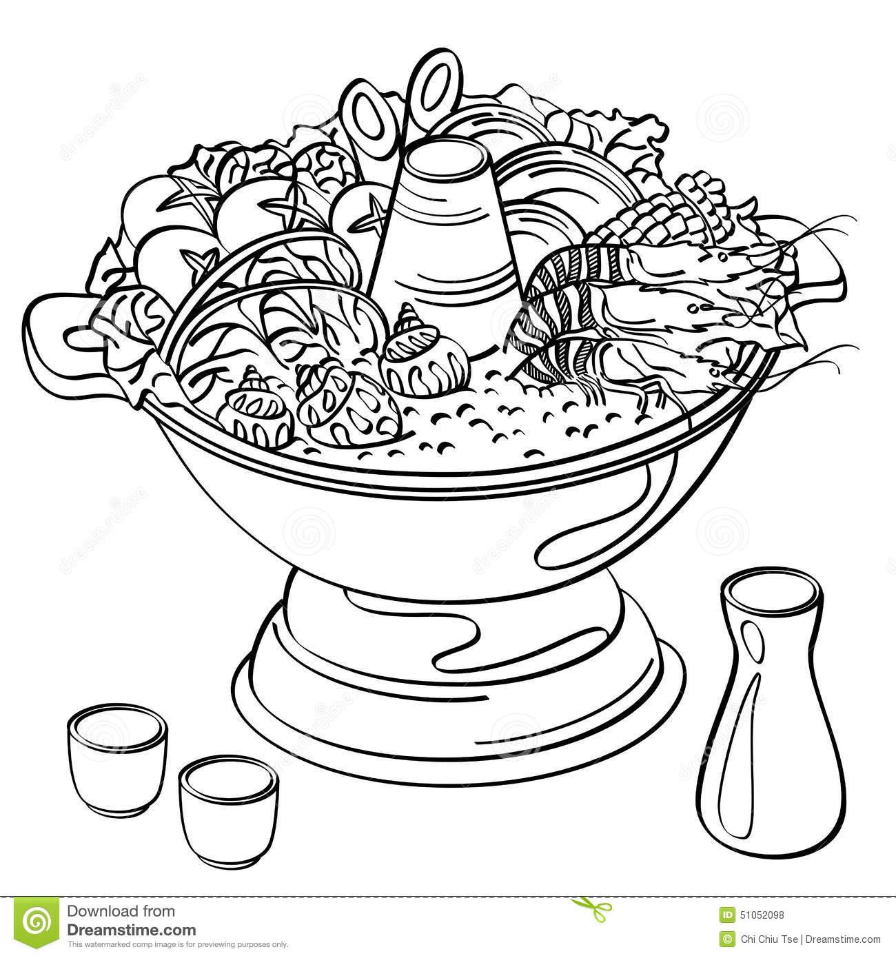 Hotpot Stock Illustrations.