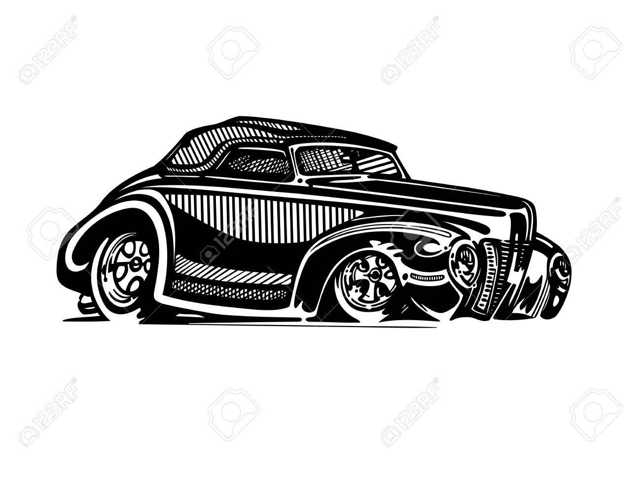 Vector retro hotrod car clipart cartoon Illustration..