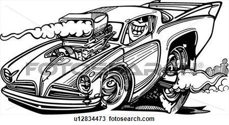automobile, car, cartoon, hot rod, hotrod, Clipart.