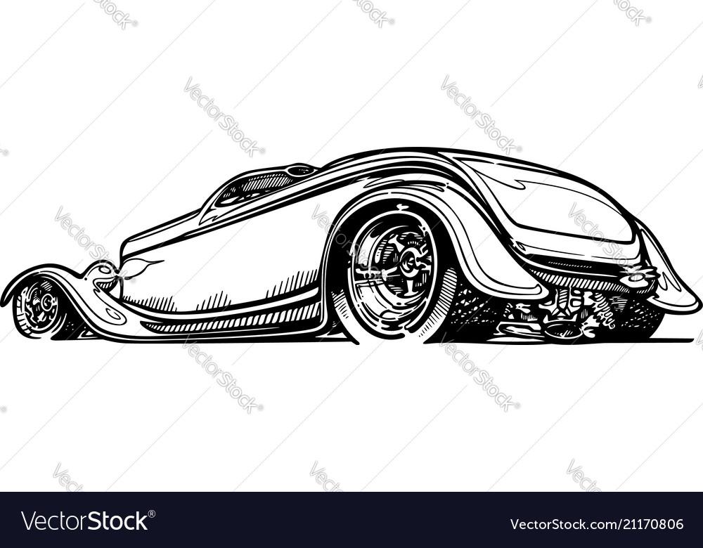 Retro hotrod car clipart cartoon.