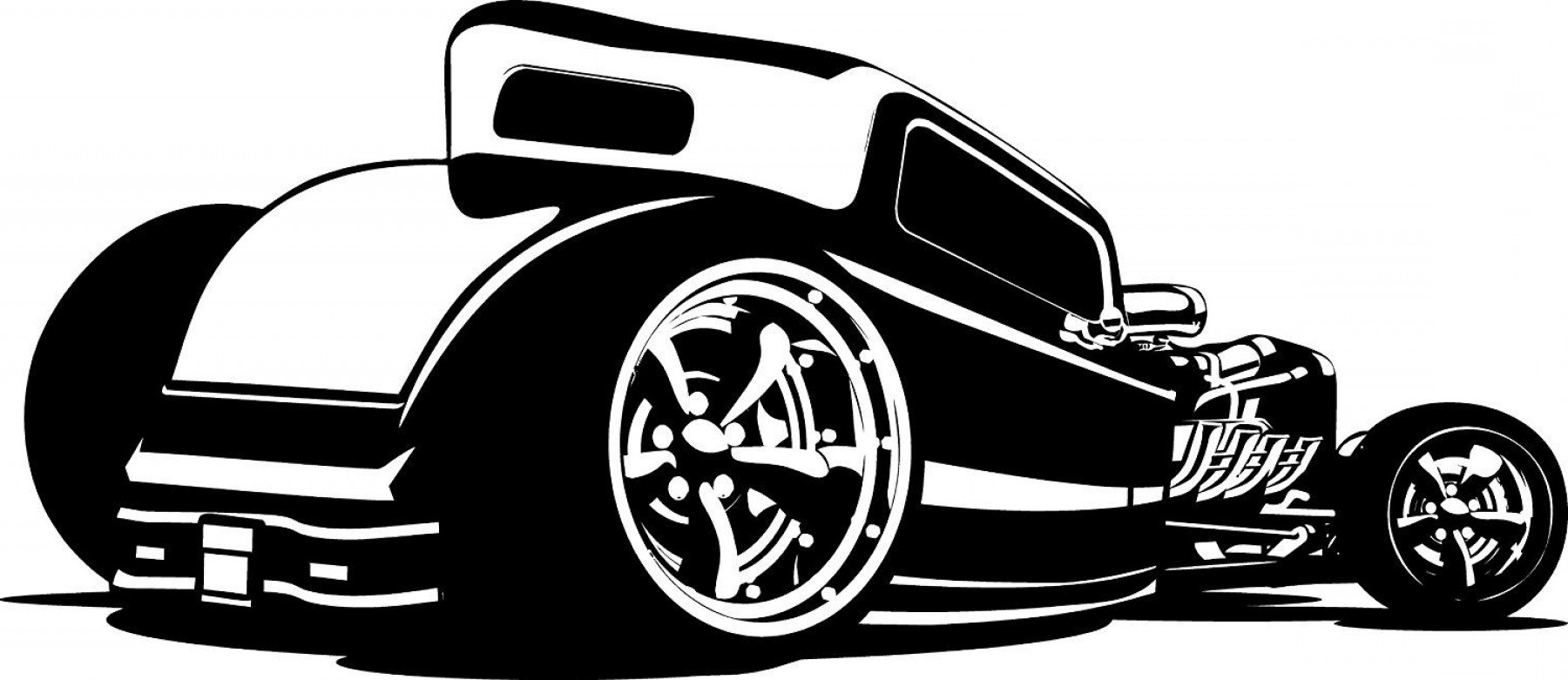 Hot Rod Clipart Black And White.