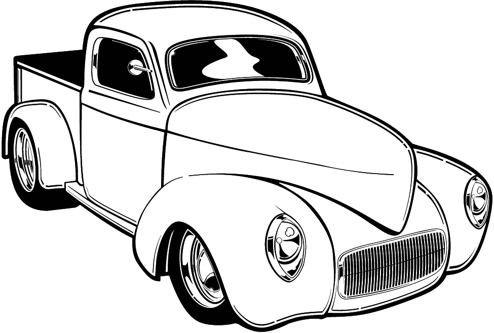 classic car black and white clipart #9
