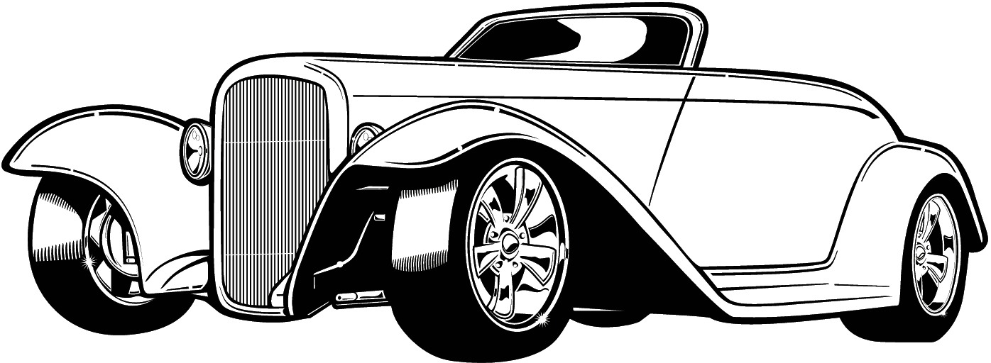 classic car black and white clipart #16