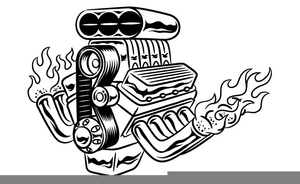 Black And White Hot Rod Clipart.