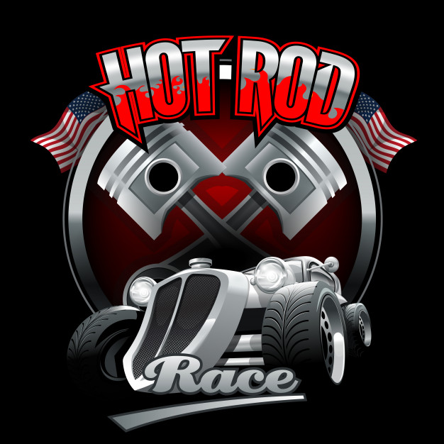Vintage hot rod logo for printing on t.