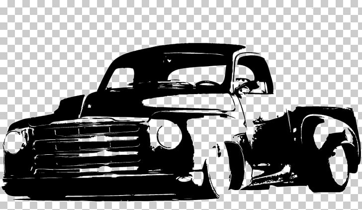 Pickup truck Car Black and white Hot rod Wall decal, hot rod.