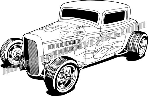 1932 Hot Rod Vector Black Line Art.