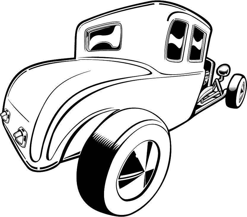 Hot Rod Clip Art Black and White.