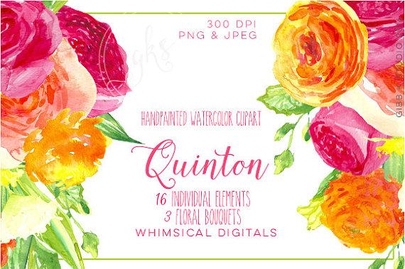 Quinton Floral watercolor clipart.