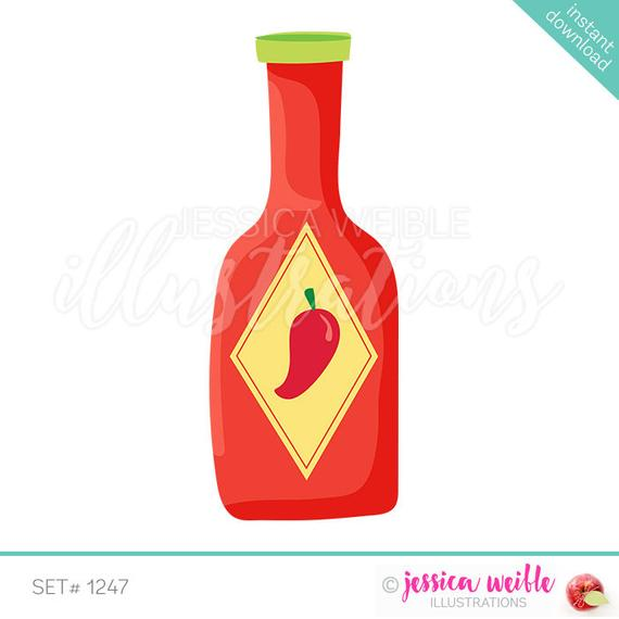 Instant Download Hot Sauce Cute Digital Clipart, Hot Sauce Bottle.
