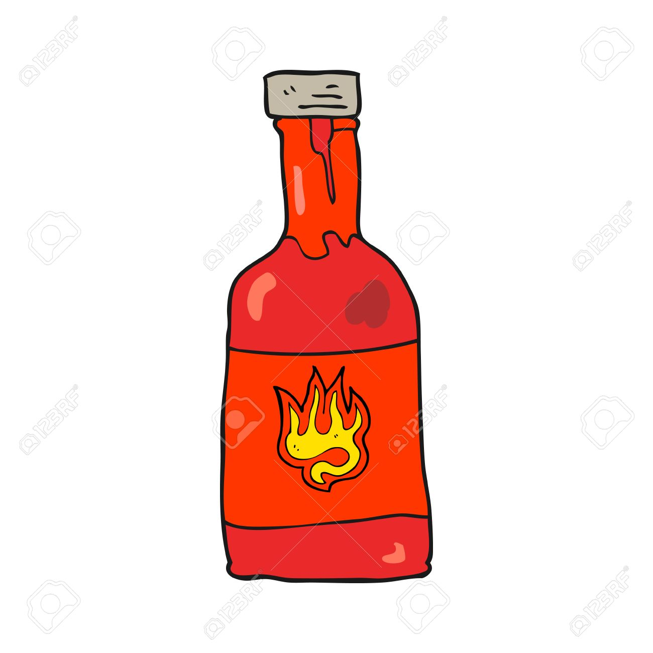 freehand drawn cartoon chili sauce bottle.