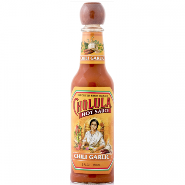 Cholula Chili Garlic Hot Sauce.