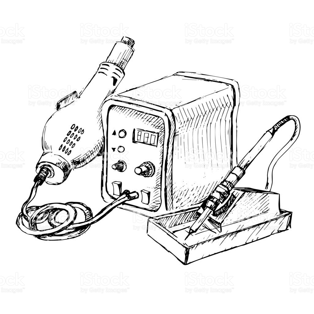 Sketch Of Hot Air Rework Soldering Iron Station Vector.