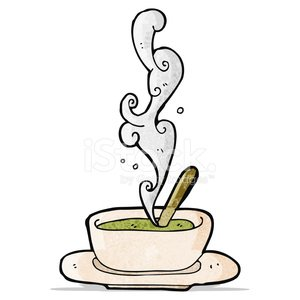 hot soup cartoon Clipart Image.
