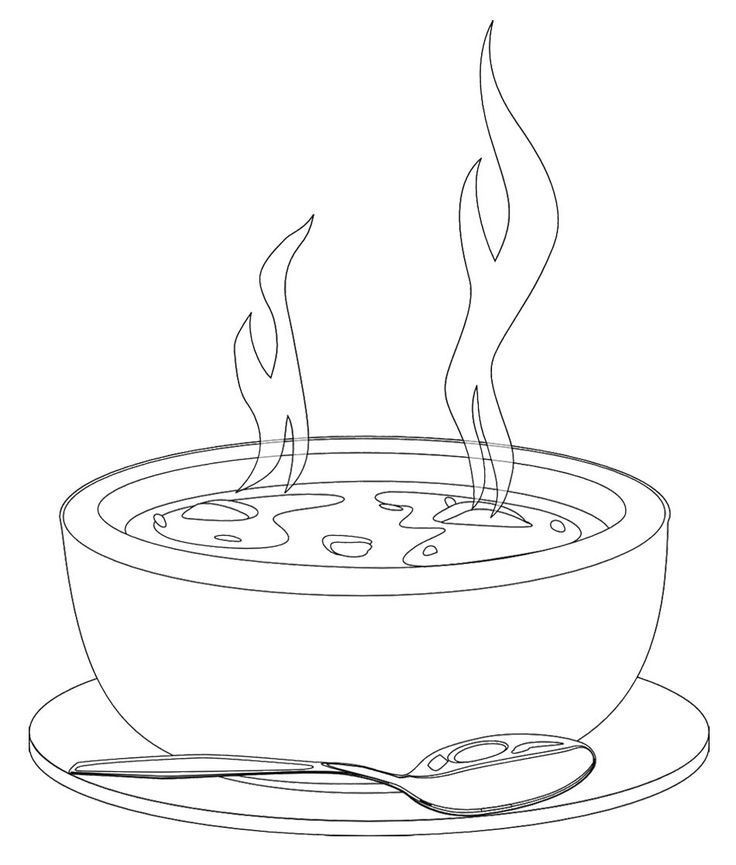 bowl of soup drawing.