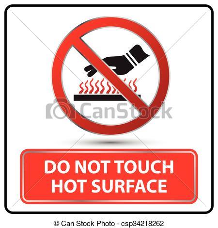 Hot surface hazard warning labels Vector Clip Art EPS Images. 8.