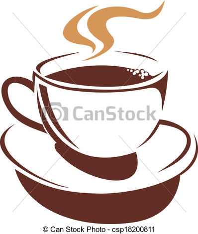Vector Clip Art of Hot cup of steaming coffee or tea.