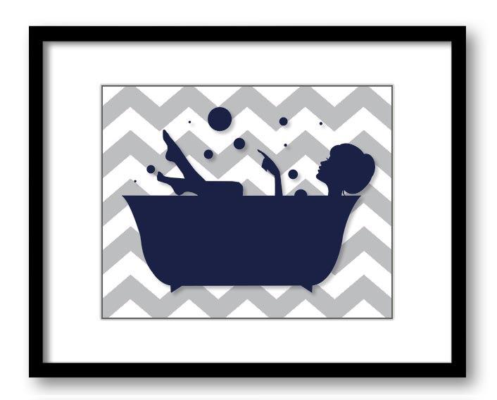 Bathroom Decor Bathroom Print Navy Blue and Grey Girl in a.