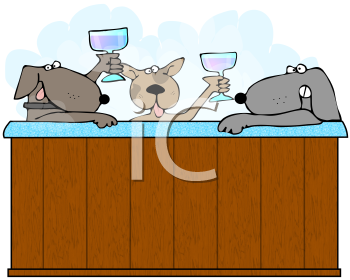 Royalty Free Clipart Image of Three Dogs in a Hot Tub Making.