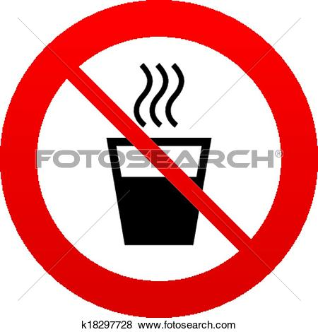 Clip Art of Hot water sign icon. Hot drink symbol. k18297728.