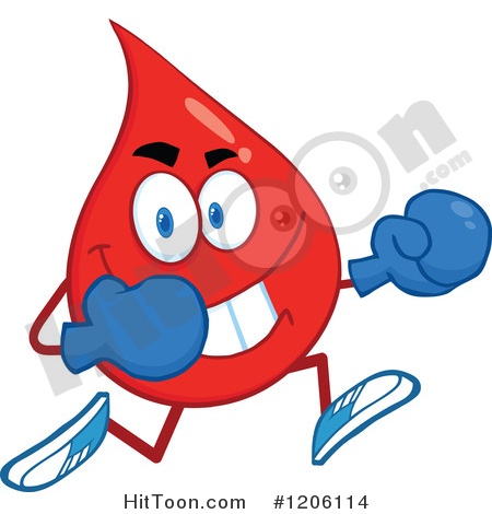 Blood Drop Clipart #1206114: Happy Blood or Hot Water Drop Running.