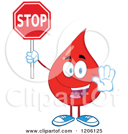 Cartoon of a Happy Blood or Hot Water Drop Holding a Stop Sign.