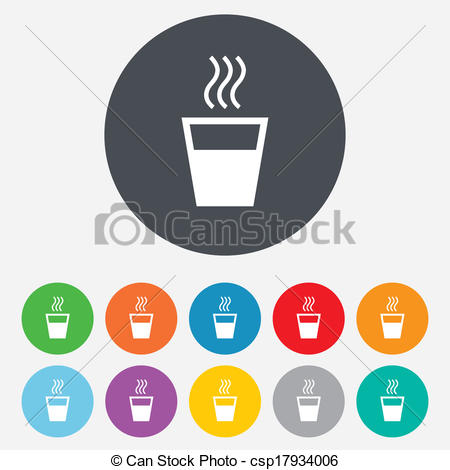 Vector Clipart of Hot water sign icon. Hot drink symbol..