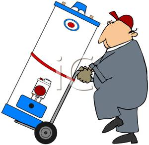 A Colorful Cartoon of a Plumber Moving a Hot Water Heater.