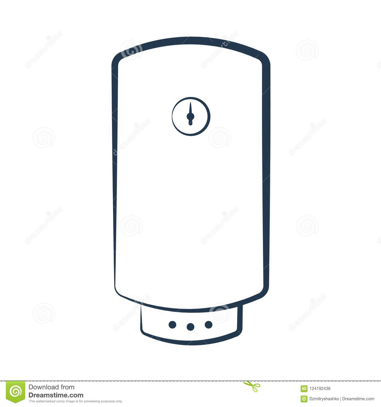 Electric Hot Water Heater Icon Stock Vector.