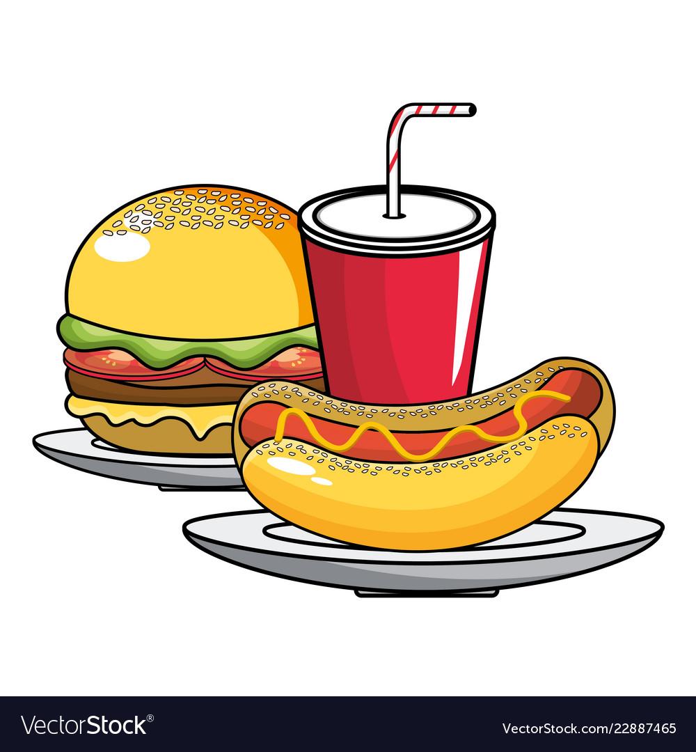 Hot dog hamburger and soda design.