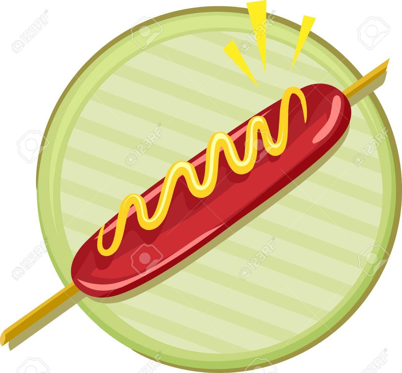 Hotdog On Stick Clipart.