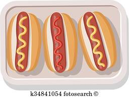 Two hotdogs with mustard and ketchup Clipart.