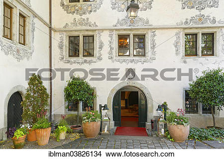 "Stock Photo of ""Hotel entrance to Deuring Schlossle Castle, Upper."