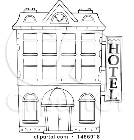 Hotel Building Clipart Black And White.