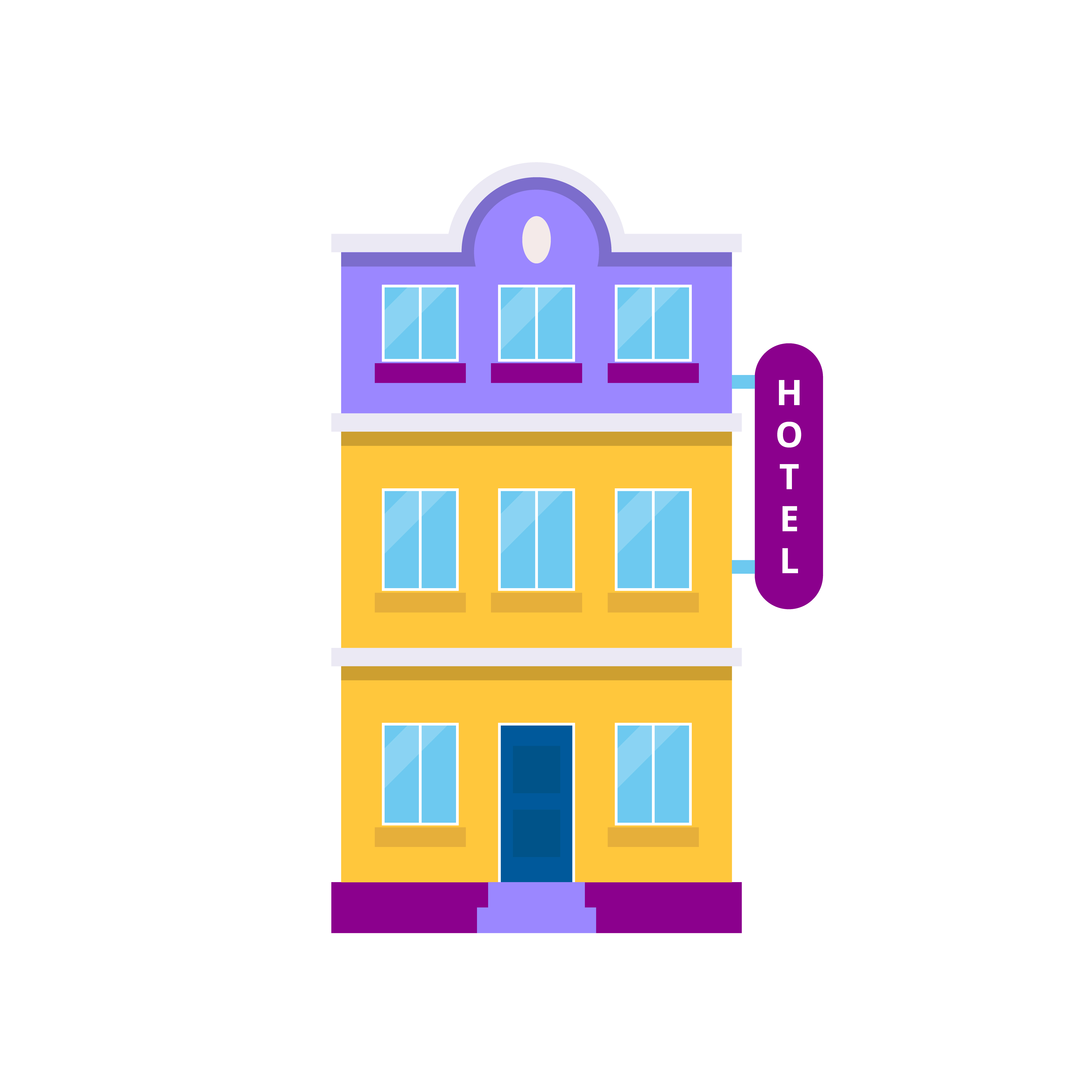 Hotel building, isolated vector illustration in flat style.