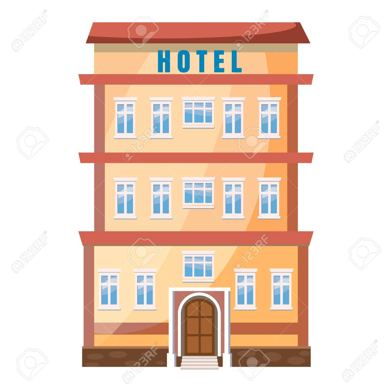 Hotel building icon in cartoon style on a white background.