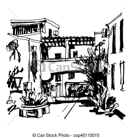 Vector Clip Art of street in hotel complex Slovenska Plaza in.