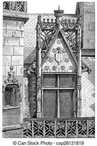 Clipart of Corner of Hotel de Cluny, vintage engraving..