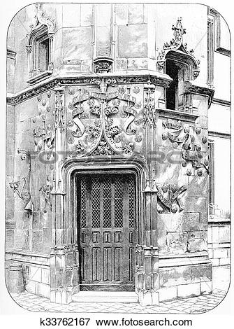Stock Illustration of Hotel de Cluny. The door of the central.