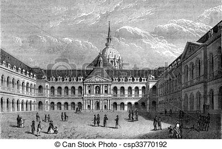 Stock Illustration of Louis XIV, Courtyard of the Hotel des.