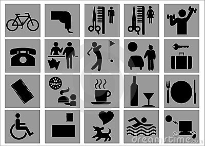 Hotel And Leisure Signs / Symbols Royalty Free Stock Images.