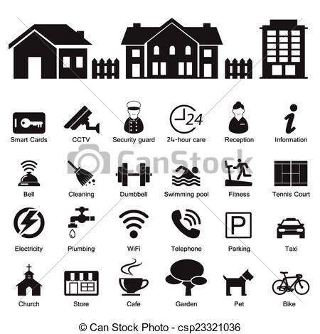 Vectors of village hotel and home Services and Facilities Icon.