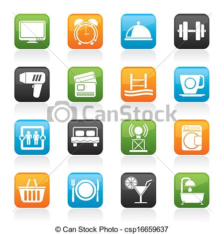 Vectors of Hotel and Motel facilities icons.