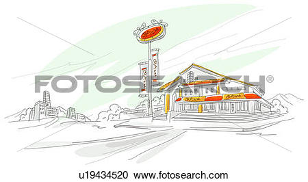 Stock Illustrations of Signboard in front of a hotel u19434520.