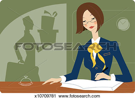 Clipart of Receptionist at Front Desk of Hotel x10709781.