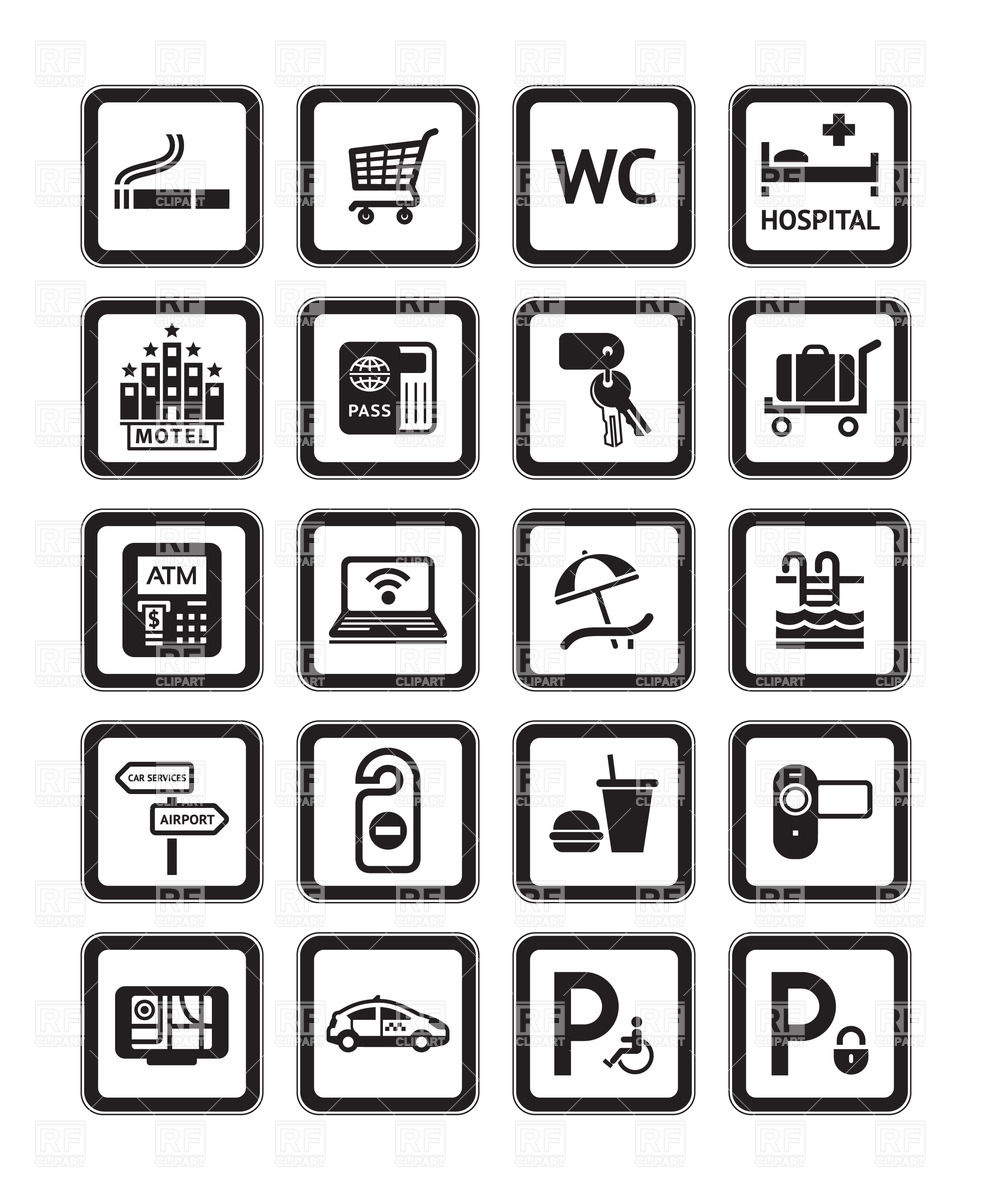 Hotel Icons Clipart.