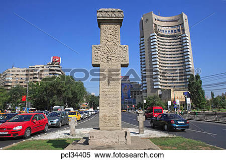 Stock Image of Revolution Memorial, Boulevard Dul Carol I, Hotel.